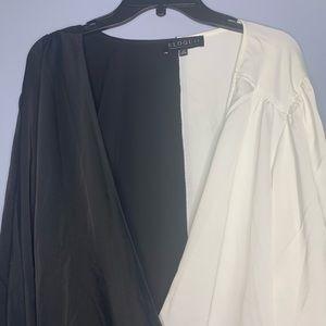 Eloquii Tops - NWT Eloquii black and white faux wrap blouse